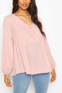 Womens Maternity Drape Sleeve Woven Smock Top - Pink - 12, Pink
