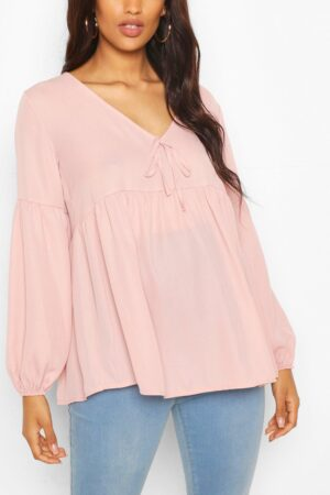 Womens Maternity Drape Sleeve Woven Smock Top - Pink - 8, Pink