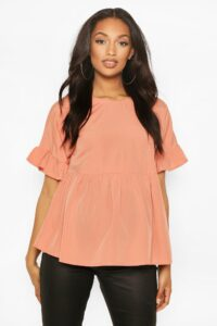 Womens Maternity Cross Back Woven Smock Top - Pink - 10, Pink