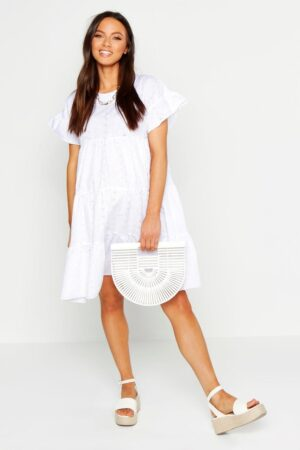 Womens Maternity Broderie Anglaise Smock Dress - White - 12, White