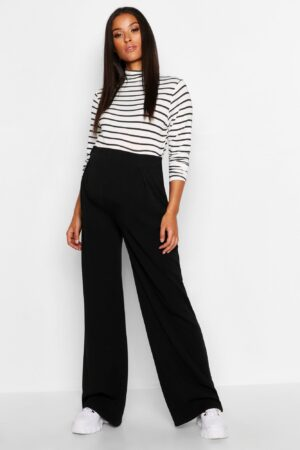 Womens Maternity Over The Bump Wide Leg Trousers - Black - 12, Black