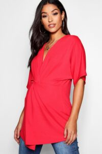 Womens Maternity Twist Front Kimono Sleeve Blouse - Red - 14, Red