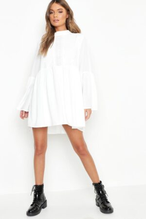 Womens Boho Crochet Detail Wide Sleeve Smock Dress - White - 14, White