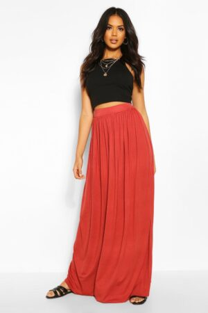 Womens Floor Sweeping Jersey Maxi Skirt - Red - 12, Red