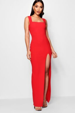 Womens Square Neck Tie Side Split Maxi Dress - Red - 12, Red