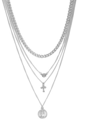 Womens Coin Cross Diamante Layered Necklace - Grey - One Size, Grey