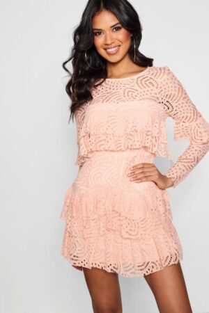 Womens Boutique Lace Ruffle Skater Dress - Pink - 16, Pink