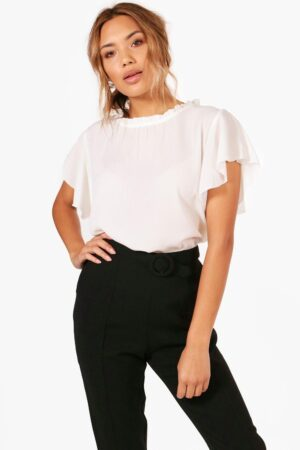Womens Woven Frill Sleeve And Neck Blouse - White - 8, White