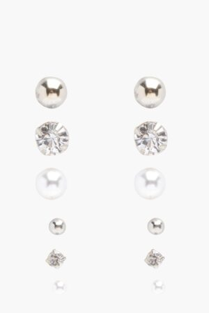 Womens Diamante And Pearl Stud 6 Pack - Grey - One Size, Grey