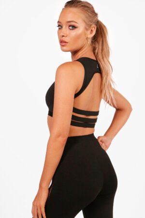 Womens Amber Fit Medium Support Strappy Back Sports Crop - Black - 6, Black