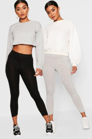 Womens 2 Pack Basic Cropped 3/4 High Waist Leggings - Grey - 14, Grey