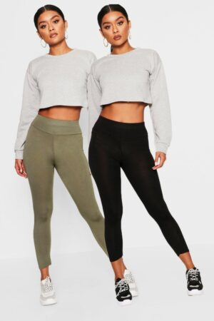 Womens 2 Pack Basic Cropped 3/4 High Waist Leggings - Green - 10, Green