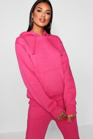 Womens Basic Solid Oversized Hoody - Pink - M/L, Pink