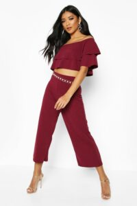 Womens Double Bandeau Top & Culotte Co-Ord Set - Red - 10, Red