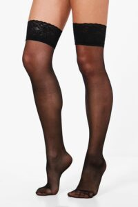 Womens Lace Top Stockings - Black - One Size, Black
