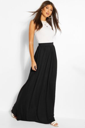 Womens Basic Floor Sweeping Jersey Maxi Skirt - Black - 10, Black