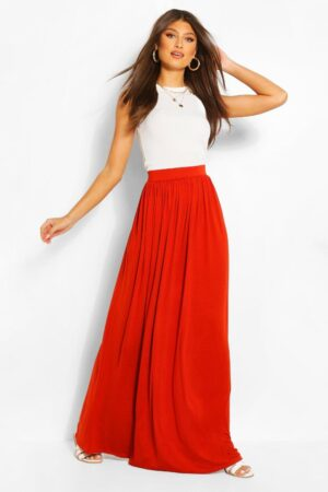 Womens Basic Floor Sweeping Jersey Maxi Skirt - Orange - 12, Orange