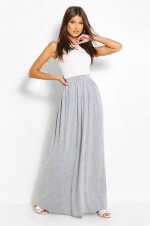 Womens Basic Floor Sweeping Jersey Maxi Skirt - Grey - 12, Grey