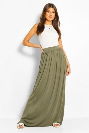 Womens Basic Floor Sweeping Jersey Maxi Skirt - Green - 14, Green