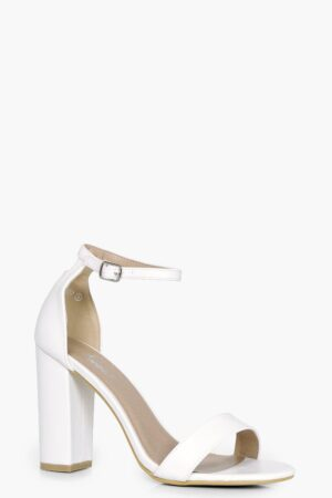 Womens 2 Part Block Heels - White - 8, White