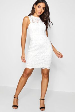 Womens Boutique Lace Racer Neck Bodycon Dress - White - 14, White