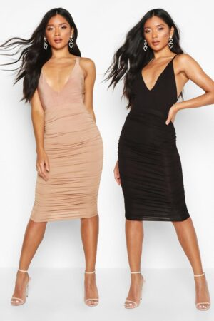 Womens 2 Pack Rouched Side Jersey Midi Skirt - Multi - 16, Multi