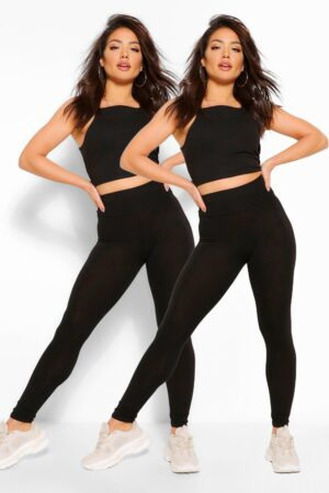 Womens 2 Pack Basic High Waist Leggings - Black - 8, Black