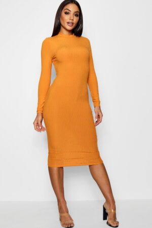 Womens Ribbed High Neck Long Sleeved Midi Dress - Yellow - 14, Yellow