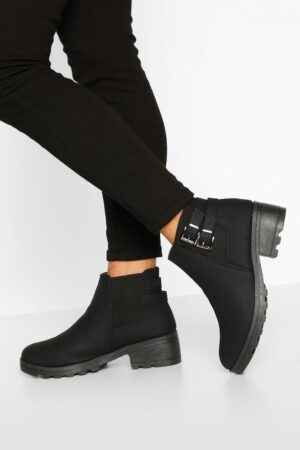 Womens Wide Fit Buckle Detail Block Heel Chelsea Boots - Black - 6, Black