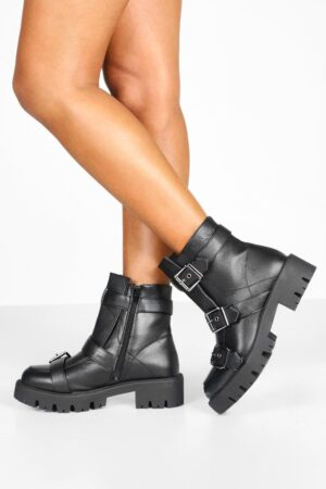 Womens Buckle Trim Cleated Hiker Boots - Black - 7, Black