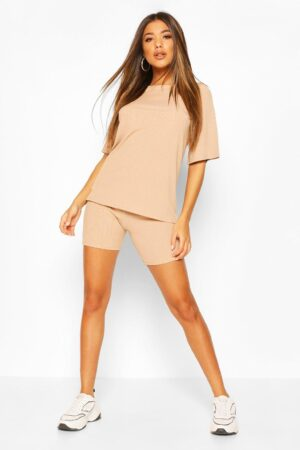 Womens Oversized T-Shirt And Cycling Short Co-Ord Set - Beige - 12, Beige