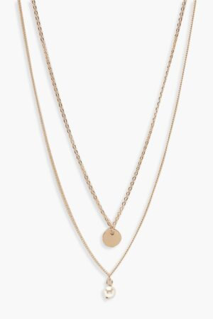 Womens Circle & Pearl Simple Layered Necklace - Metallics - One Size, Metallics