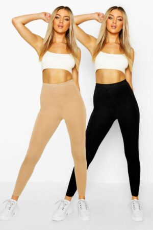 Womens 2 Pack Basic Jersey Leggings - Beige - 8, Beige