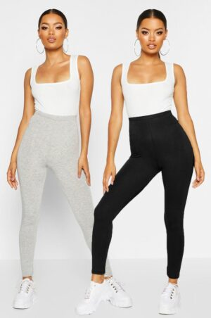Womens 2 Pack Basic Jersey Leggings - Grey - 8, Grey