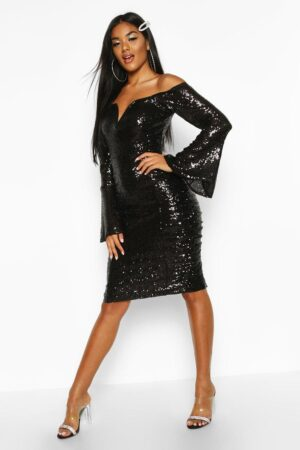 Womens Sequin Flare Sleeve Rouched Side Midi Dress - Black - 8, Black