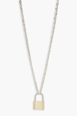Womens Contrast Padlock Chain Necklace - Multi - One Size, Multi
