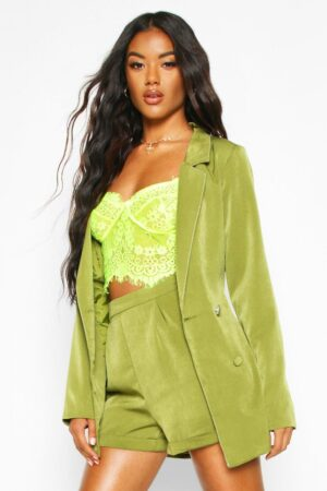 Womens Double Breasted Belted Blazer - Green - L, Green