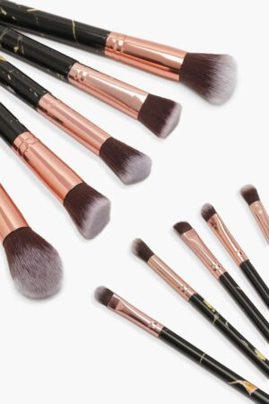 Womens 10 Piece Rose Gold Marble Make Up Brush Set - Black - One Size, Black