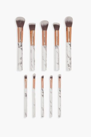 Womens 10 Piece Rose Gold Marble Make Up Brush Set - White - One Size, White