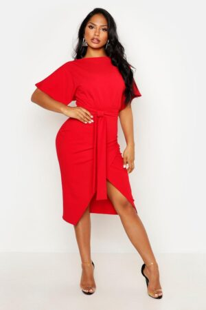 Womens Angel Sleeve Belted Wrap Midi Dress - Red - 6, Red