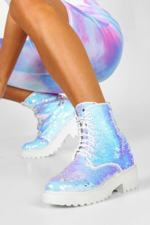 Womens Sequin Chunky Hiker Boots - White - 3, White