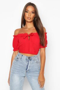 Womens Bandage Peasant Crop Top - Red - 12, Red