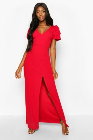 Womens Plunge Ruffle Sleeve Maxi Bridesmaid Dress - Red - 6, Red