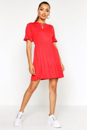 Womens Smock Dress - Red - 14, Red