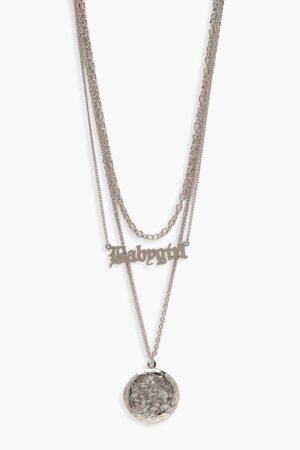 Womens Babygirl Layered Necklace - Grey - One Size, Grey