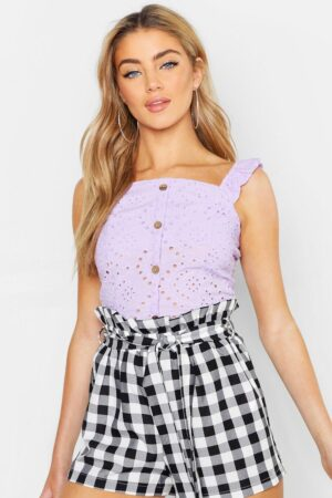 Womens Broderie Anglaise Button Top - Purple - 16, Purple