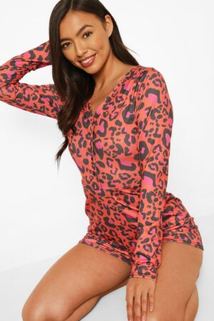 Womens Leopard Playsuit - Red - 12, Red