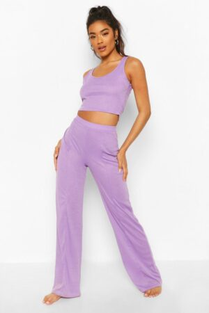 Womens Crop Top And Wide Leg Pintuck Lounge Set - Purple - 14, Purple