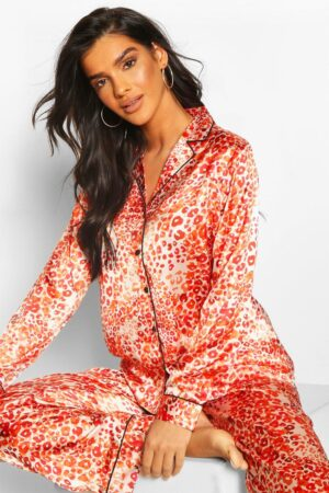 Womens Ditsy Leopard Satin Pj Trouser Set - Red - 16, Red
