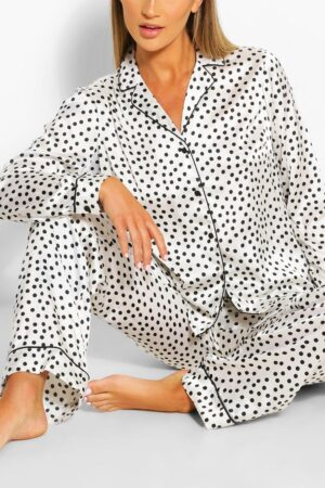 Womens Satin Polka Dot Pj Trouser Set - White - 8, White